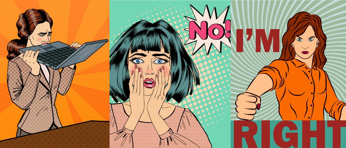 pop art frustrated feminists collage Shutterstock/Ellen Bronstayn, Shutterstock/ivector, Shutterstock/ivector