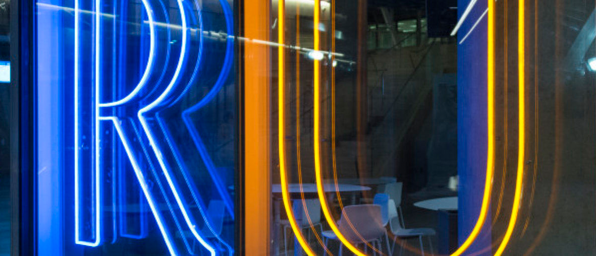 Letters RU illuminated, at the entrance of Ryerson University Student Centre, representing Ryerson University. Photo Credit: Roberto Machado Noa / Getty Images
