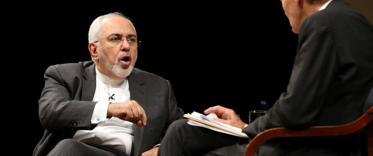 Iran's Foreign Minister Mohammad Javad Zarif addresses Charlie Rose at event in conjunction with the 72nd United Nations General Assembly in Manhattan, New York