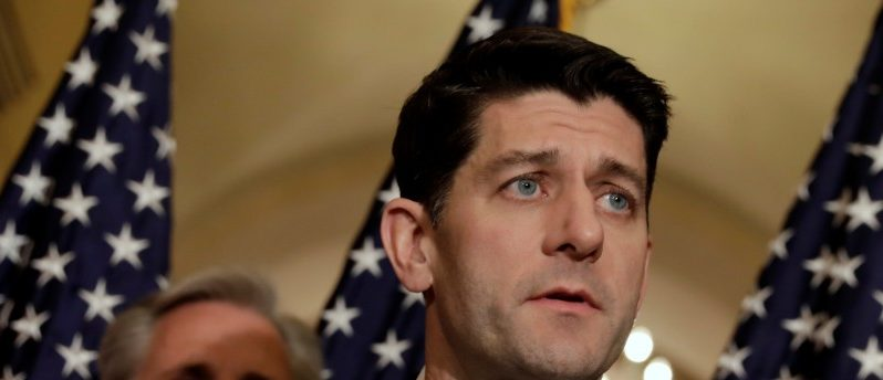 FILE PHOTO: House Speaker Paul Ryan (R-WI) speaks at a news conference with Republican leaders on Capitol Hill in Washington, U.S., January 18, 2018. REUTERS/Yuri Gripas