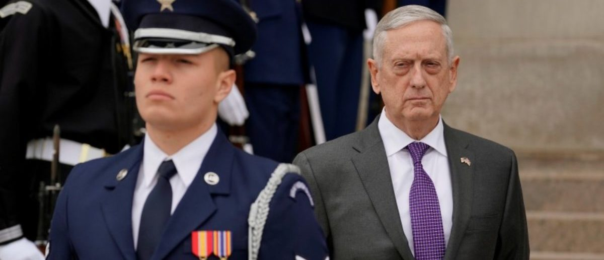 U.S. Defense Secretary James Mattis waits to welcome British State Secretary for Defense Gavin Williamson to the Pentagon in Arlington, Virginia, U.S., February 1, 2018. REUTERS/Yuri Gripas