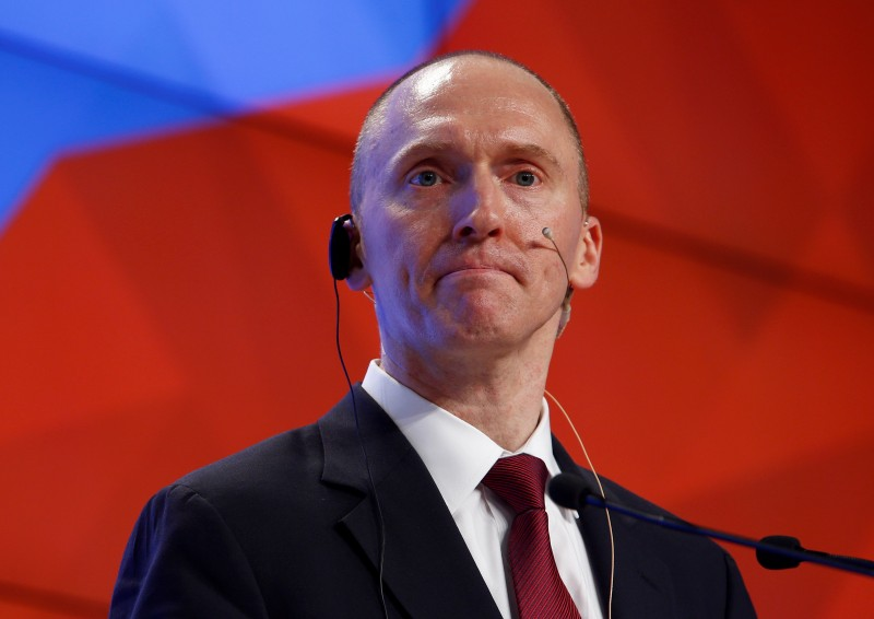 Carter Page, one-time advisor of U.S. president-elect Donald Trump, addresses the audience during a presentation in Moscow, Russia, December 12, 2016. REUTERS/Sergei Karpukhin