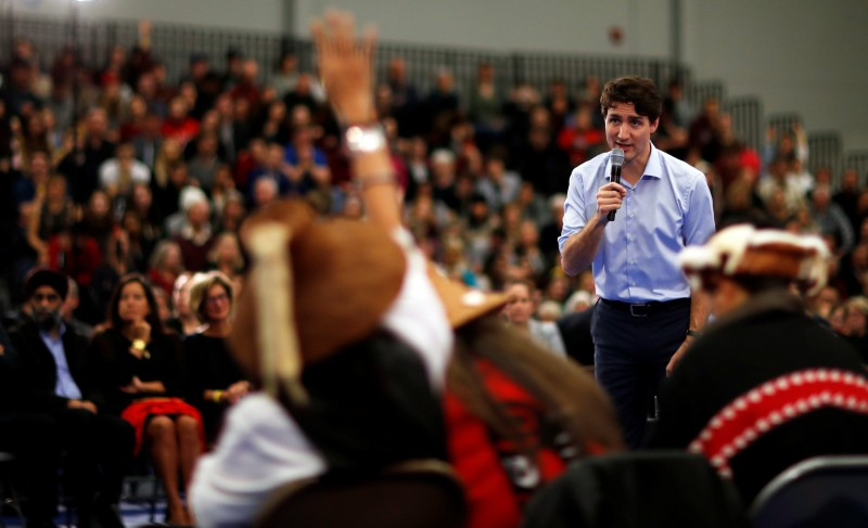 Canada's Prime Minister Justin Trudeau addresses the crowd during a town hall meeting at Vancouver Island University in Nanaimo, British Columbia, Canada, February 2, 2018. REUTERS/Kevin Light