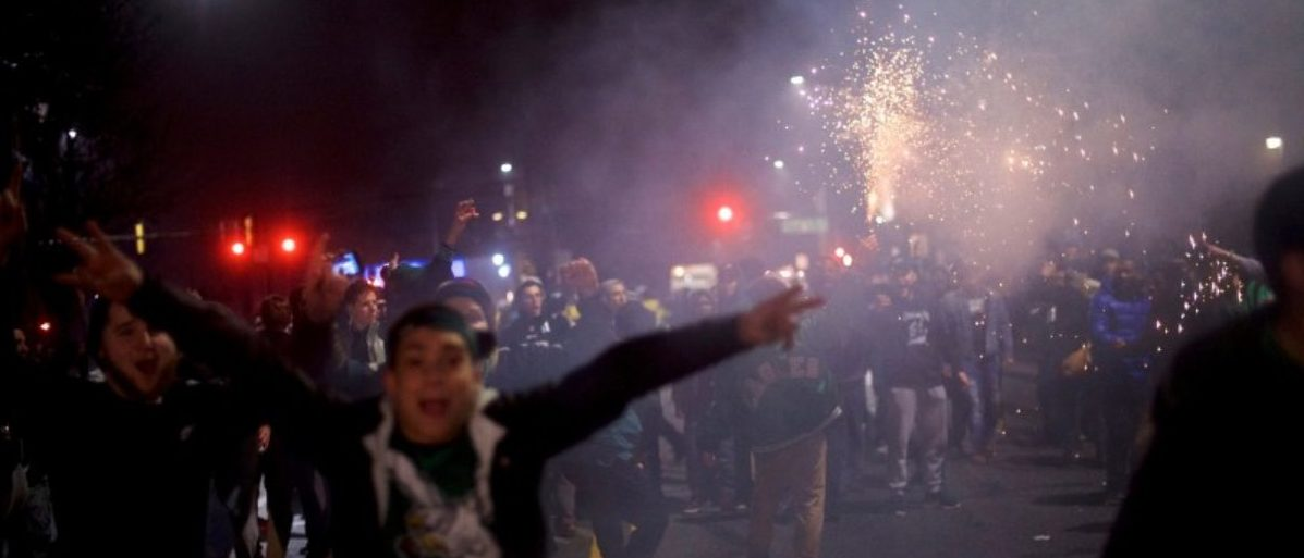 Fans set off fireworks while celebrating the Philadelphia Superbowl LII victory over the New England Patriots in Philadelphia, Pennsylvania U.S. February 5, 2018. REUTERS/Mark Makela