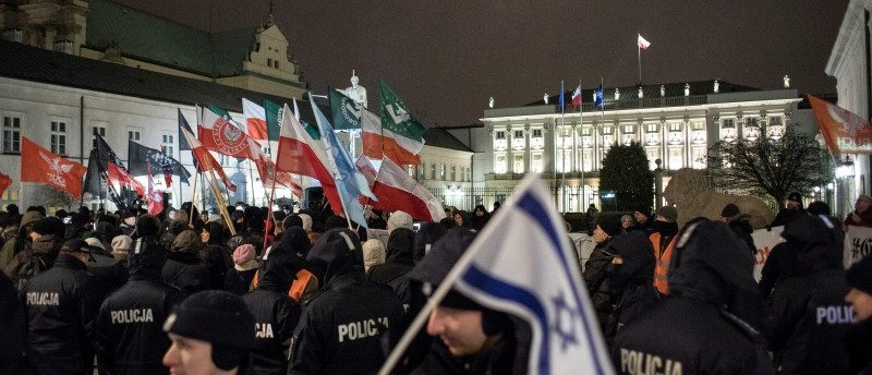 Supporters of the far-right National Radical Camp (ONR) gather in support of the Holocaust bill in front of the Presidential Palace in Warsaw, February 5, 2018. Agencja Gazeta/Dawid Zuchowicz via REUTERS ATTENTION EDITORS - THIS IMAGE WAS PROVIDED BY A THIRD PARTY. POLAND OUT.