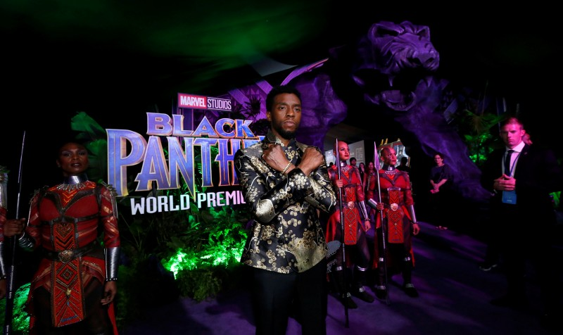 "FILE PHOTO: Cast member Chadwick Boseman poses at the premiere of ""Black Panther"" in Los Angeles, California, U.S., January 29, 2018. REUTERS/Mario Anzuoni"