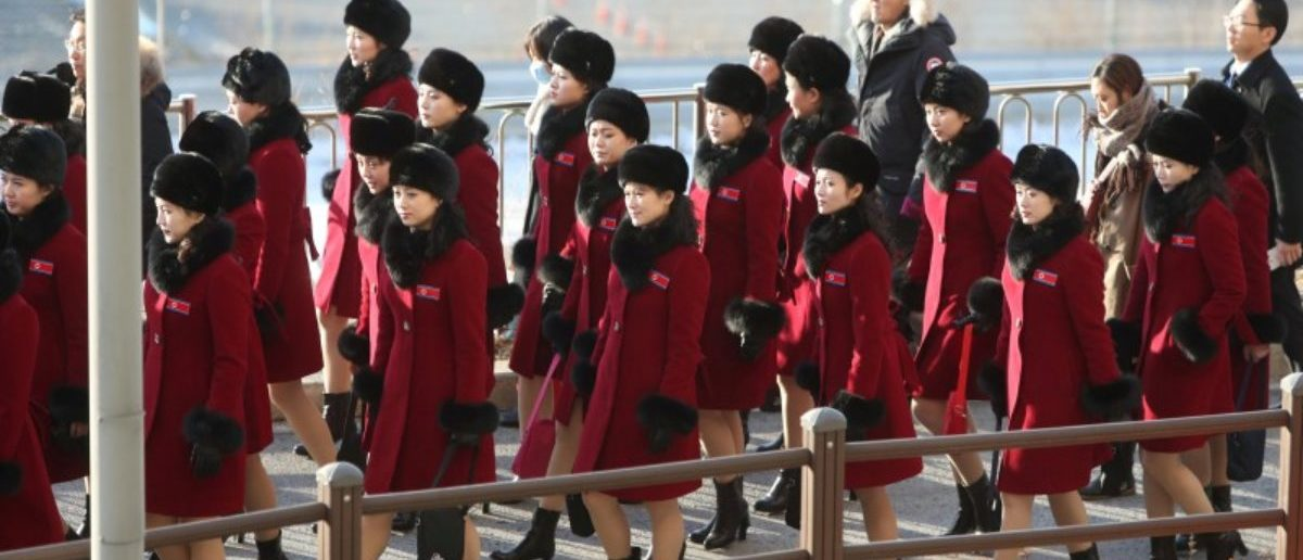 Members of North Korean cheering squad arrive at a hotel in Inje, South Korea, February 7, 2018. Yonhap via REUTERS