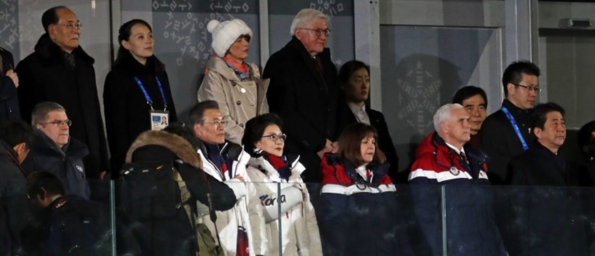Pyeongchang 2018 Winter Olympics – Opening ceremony – Pyeongchang Olympic Stadium - Pyeongchang, South Korea – February 9, 2018 - Kim Yo Jong, sister of North Korean leader Kim Jong Un, South Korean President Moon Jae-in, U.S. Vice President Mike Pence, Japanese Prime Minister Shinzo Abe and German President Frank-Walter Steinmeier attend the opening ceremony. REUTERS/Damir Sagolj