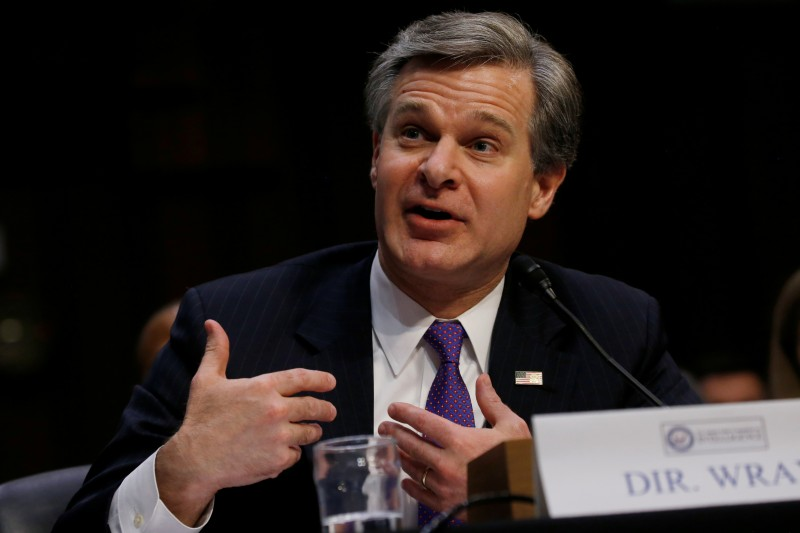 FBI Director Christopher Wray testifies during a Senate Intelligence Committee hearing. REUTERS/Leah Millis
