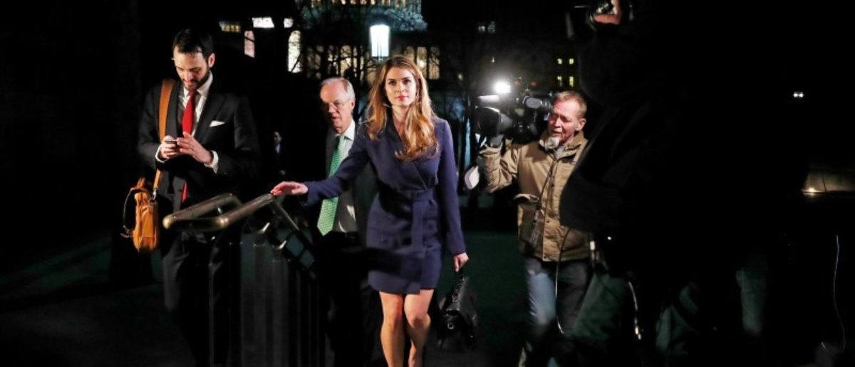 White House Communications Director Hope Hicks leaves after attending the House Intelligence Committee closed door meeting at the U.S. Capitol in Washington, U.S., February 27, 2018. REUTERS/Leah Millis