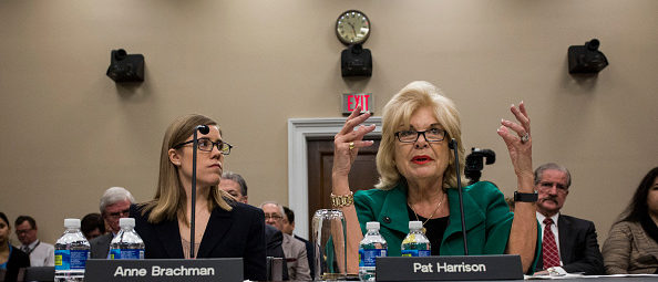 WASHINGTON, DC - MARCH 28: Patricia de Stacy Harrison (R), president and CEO of the Corporation for Public Broadcasting (CPB), testifies before a House subcommittee holding hearings on President Donald Trump's first budget as Anne Brachman, CPB government affairs senior vice president, listens on Capitol Hill on March 28, 2017 in Washington, D.C. The 2018 budget calls for the elimination of federal funding for CPB, a private, nonprofit organization created by Congress whose annual appropriation is around $445 million. CPB in turn funds programming and distributes grants to public television and radio stations to help defray operational costs. (Photo by Zach Gibson/Getty Images)