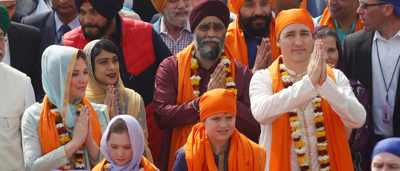 Canadian Prime Minister Justin Trudeau, his wife Sophie Gregoire, daughter Ella Grace and son Xavier walk inside the premises of holy Sikh shrine of Golden temple in Amritsar, India February 21, 2018. REUTERS/Adnan Abidi
