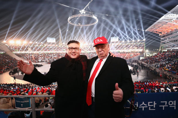 Impersonators of Donald Trump and Kim Jong Un pose during the Opening Ceremony of the PyeongChang 2018 Winter Olympic Games at PyeongChang Olympic Stadium on February 9, 2018 in Pyeongchang-gun, South Korea. (Photo by Ryan Pierse/Getty Images)