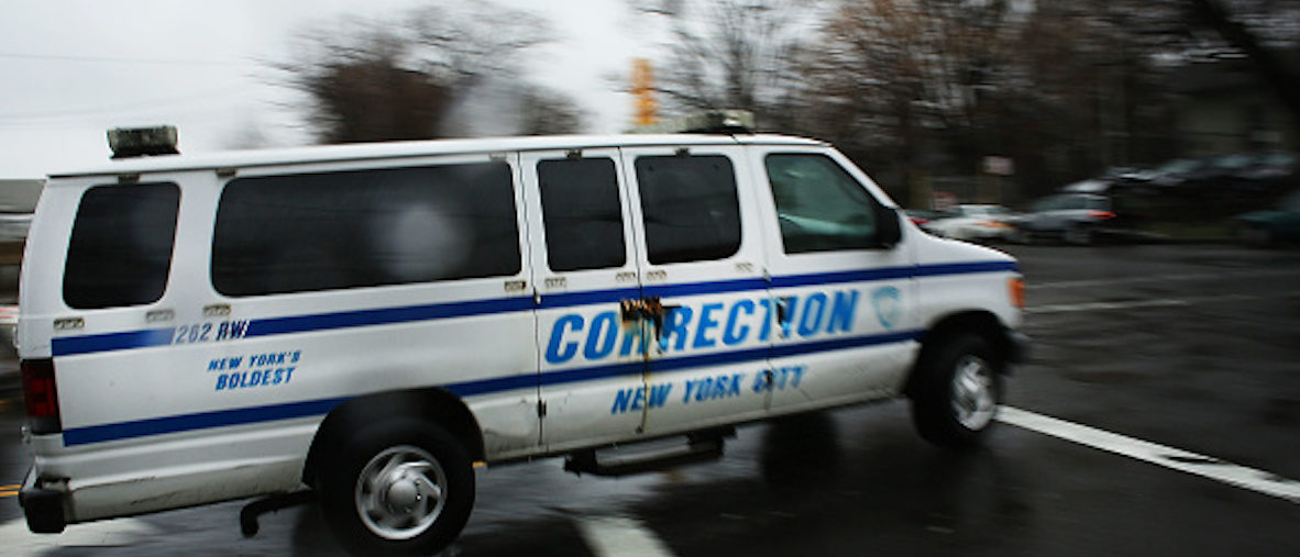 NEW YORK, NY - MARCH 31: A corrections van enters Rikers Island on March 31, 2017 in New York City. New York Mayor Bill de Blasio has said that he agrees with the fundamentals of a plan to close the jail complex on Rikers Island within 10 years. A newly released report from an independent commission, led by Judge Jonathan Lippman and created by the City Council last year, has recommended the closer of the troubled facility. (Photo by Spencer Platt/Getty Images)