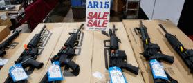 AR-15 rifles are displayed for sale at the Guntoberfest gun show in Oaks, Pennsylvania, October 6, 2017.   REUTERS/Joshua Roberts