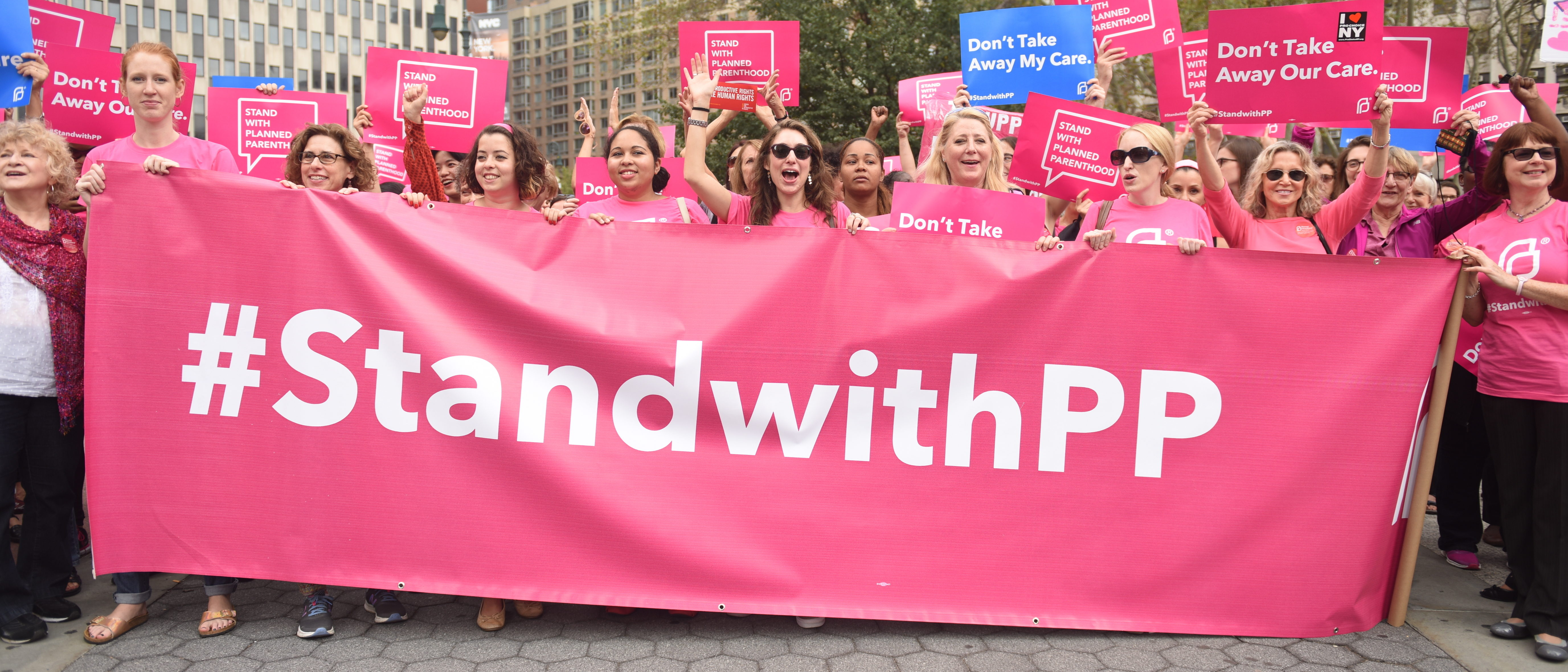 Activists and directors of Planned Parenthood, NYC, gathered in Foley Square. (Shutterstock/a Katz)