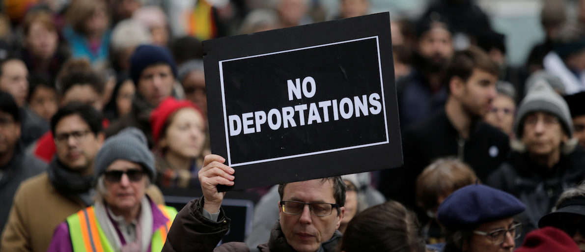 Activists demonstrate against deportation during a protest outside the Jacob Javits Federal Building in Manhattan in New York City, U.S., January 11, 2018. REUTERS/Eduardo Munoz - RC1E2E689C90