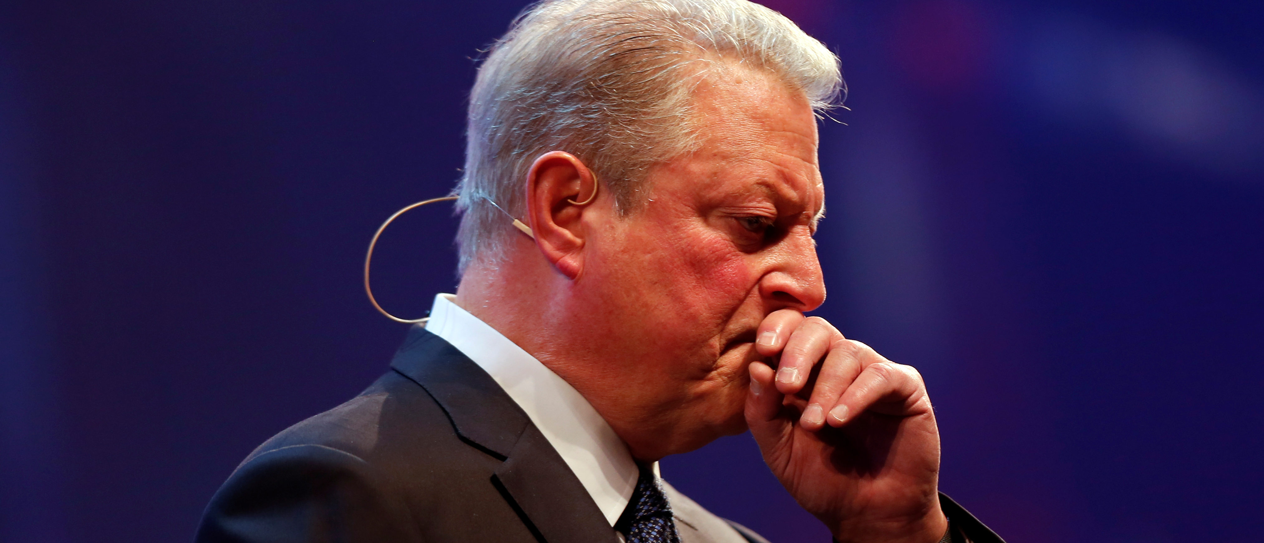 Al Gore chairman of Generation Investment Management gestures during the Web Summit, Europe's biggest tech conference, in Lisbon, Portugal, November 9, 2017. REUTERS/Pedro Nunes