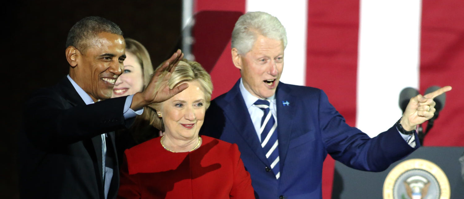 US Democratic presidential nominee Hillary Clinton (C), US President Barack Obama (L), and former US president Bill Clinton (R) wave to the crowd after a rally on Independence Mall in Philadelphia, Pennsylvania, November 07, 2016 About 40,000 people flooded Independence Mall in Philadelphia for Hillary Clinton's rally with her husband Bill, President Barack Obama and his wife Michelle at her side, a campaign aide said. The attendance set a new record for Clinton, with the previous high point a rally in Ohio that drew 18,500 people, a campaign aide told reporters traveling with the candidate. (Photo: KENA BETANCUR/AFP/Getty Images)