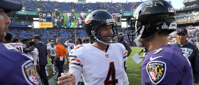 BALTIMORE, MD - OCTOBER 15: Kicker Connor Barth #4 talks with kicker Justin Tucker #9 of the Baltimore Ravens after the Chicago Bears 27 - 24 win at M&T Bank Stadium on October 15, 2017 in Baltimore, Maryland.(Photo by Rob Carr/Getty Images)