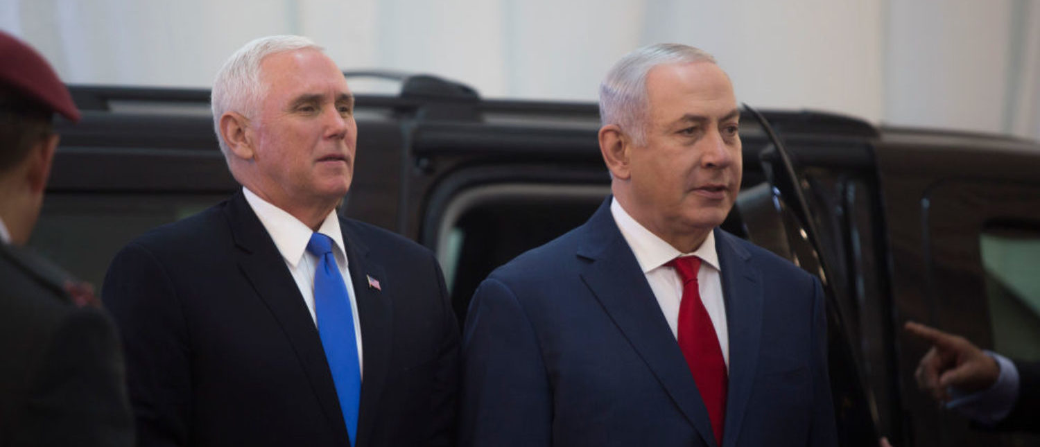 JERUSALEM, ISRAEL - JANUARY 22: US Vice President Mike Pence (L) is seen with Israeli Prime Minister Benjamin Netanyahu during an official welcome ceremony at the Prime Minister's Office on January 22, 2018 in Jerusalem, Israel. U.S. Vice President Mike Pence landed in Israel Sunday evening after visiting Egypt and Jordan. The Palestinian Authority is boycotting Pence's visit to the region, due to Trump's recognition of Jerusalem as Israel's capital and announcement to move the embassy. (Photo by Lior Mizrahi/Getty Images)