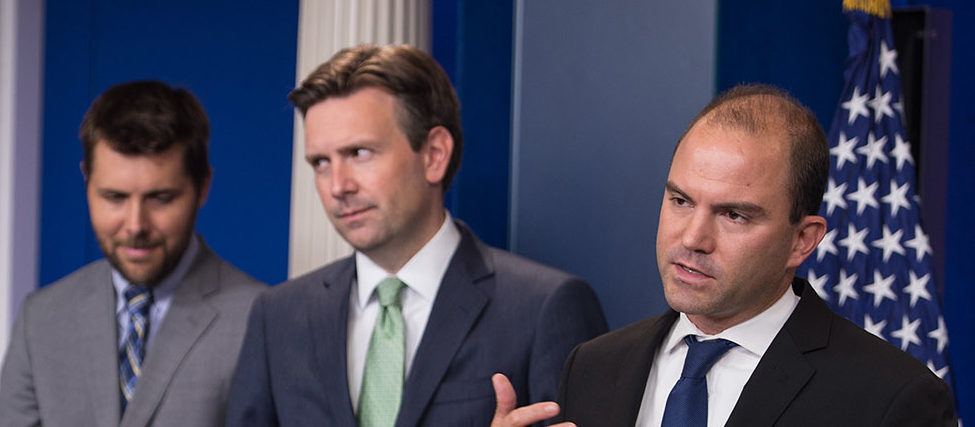 US Deputy National Security Advisor for Strategic Communications Ben Rhodes (R) speaks during the daily briefing as White House spokesman Josh Earnest (2nd R), senior advisor Brian Deese (2nd L) and Deputy National Security Advisor for International Economics Affairs Wally Adeyomo listen at the White House in Washington, DC, on August 29, 2016. NICHOLAS KAMM/AFP/Getty Images