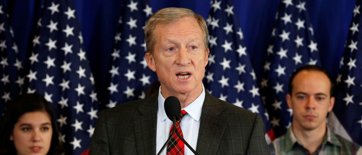 Tom Steyer, a hedge fund manager and a prominent Democratic fundraiser who has mounted a high-profile advertising campaign advocating the impeachment of U.S. President Donald Trump, holds a news conference to announce plans for his political future, in Washington, U.S., January 8, 2018.   REUTERS/Joshua Roberts
