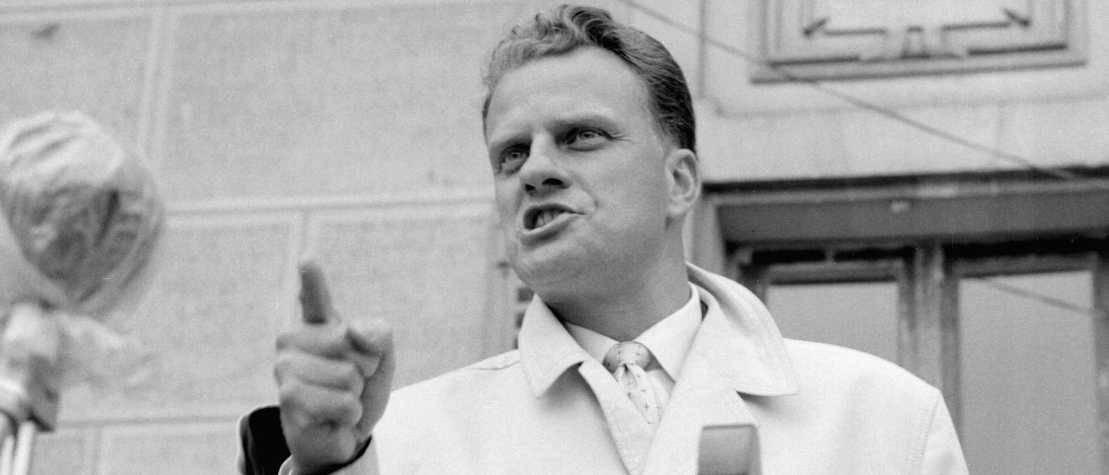 Billy Graham, the American evangelist, preaches in the 1960s in Paris. (Photo: AFP/Getty Images)