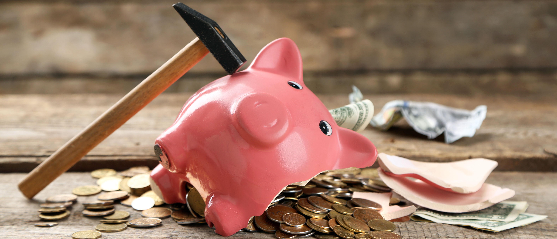 A broken piggy bank. Shutterstock.