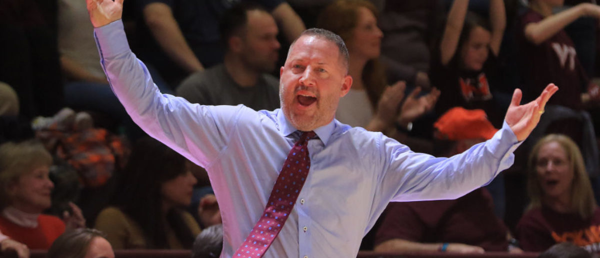 BLACKSBURG, VA - FEBRUARY 26: Virginia Tech Hokies head coach Buzz Williams tries to excite fans in the second half during the game against the Duke Blue Devils at Cassell Coliseum on February 26, 2018 in Blacksburg, Virginia. (Photo by Lauren Rakes/Getty Images)