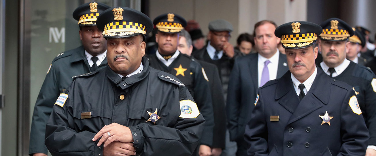 Chicago Police Superintendent Eddie Johnson (front) prepares to speak to the press outside Northwestern Memorial Hospital following the shooting death of Cmdr. Paul Bauer on February 13, 2018 in Chicago, Illinois. Bauer, who was downtown leaving training session, was shot after trying to help stop a man being pursued by tactical officers. (Photo by Scott Olson/Getty Images)