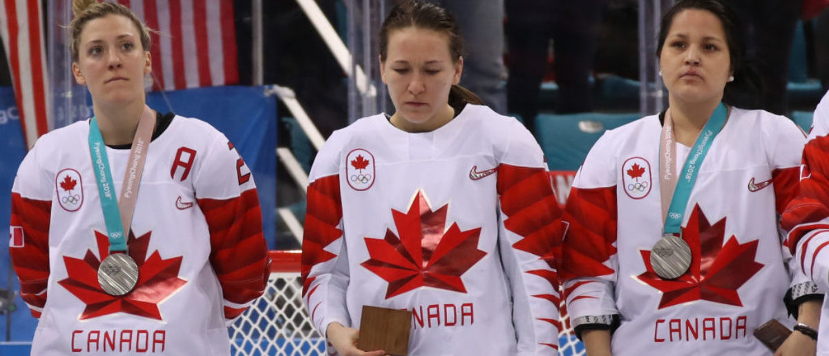 GANGNEUNG, SOUTH KOREA - FEBRUARY 22: Jocelyne Larocque #3 of Canada refuses to wear her silver medal after losing to the United States in the Women's Gold Medal Game on day thirteen of the PyeongChang 2018 Winter Olympic Games at Gangneung Hockey Centre on February 22, 2018 in Gangneung, South Korea. (Photo by Bruce Bennett/Getty Images)