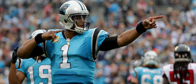 Cam Newton #1 of the Carolina Panthers reacts after a play against the Atlanta Falcons during their game at Bank of America Stadium on November 5, 2017 in Charlotte, North Carolina.  (Photo by Streeter Lecka/Getty Images)