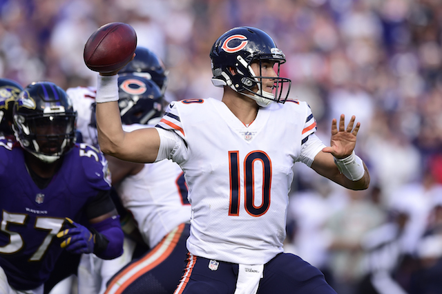 BALTIMORE MD- OCTOBER 15 Quarterback Mitchell Trubisky #10 of the Chicago Bears throws in the fourth quarter against the Baltimore Ravens at M&T Bank Stadium