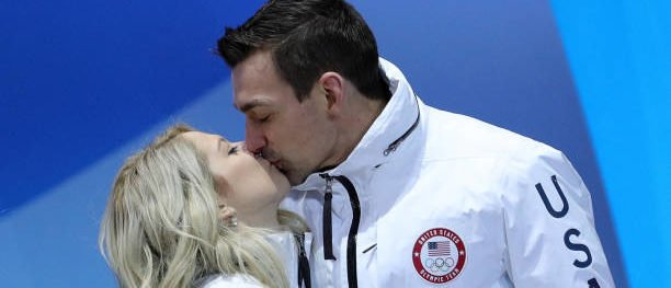 PYEONGCHANG-GUN, SOUTH KOREA - FEBRUARY 12: Bronze medalists Alexa Scimeca Knierim and Chris Knierim of Team United States celebrate during the victory ceremony after the Figure Skating Team Event at Medal Plaza on February 12, 2018 in Pyeongchang-gun, South Korea. (Photo by Andreas Rentz/Getty Images)