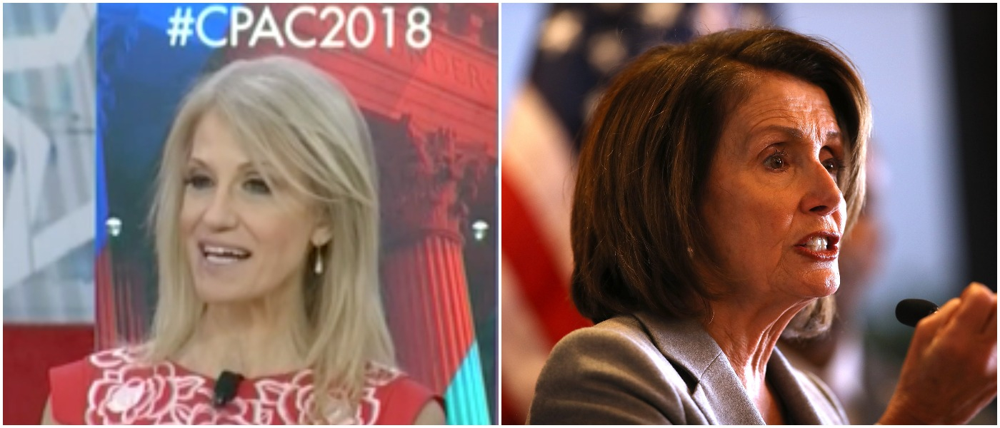 Conway Pelosi Left: CSPAN screenshot Right: Photo by Justin Sullivan/Getty Images