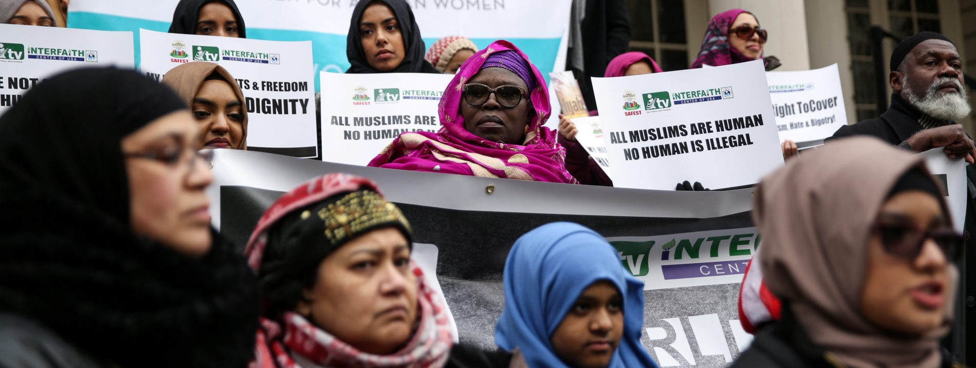Muslim American women take part in a World Hijab Day rally held in front of New York City Hall in Manhattan, New York, February 1, 2018. REUTERS/Amr Alfiky