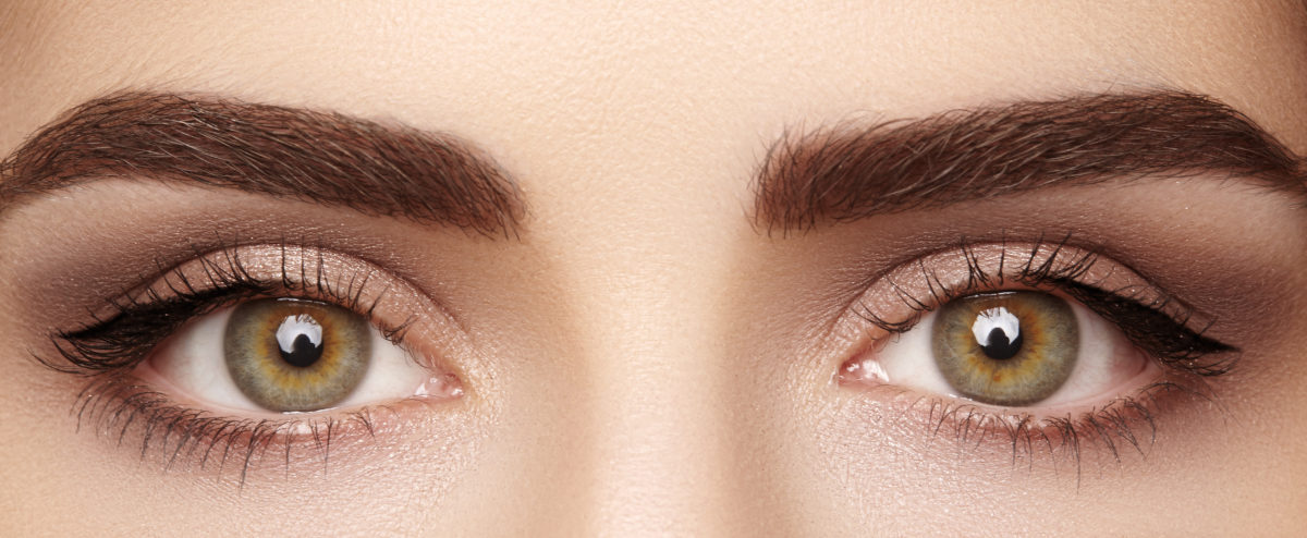 Close-up macro of beautiful female eye with perfect shape eyebrows. Clean skin, fashion naturel make-up. Good vision. Shutterstock/ marinafrost