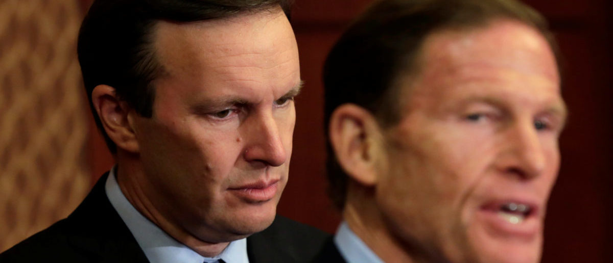 Senators Chris Murphy (D-CT) and Richard Blumenthal (D-CT) (R) hold a news conference to demand Congress' immediate action to reduce gun violence, on Capitol Hill in Washington, U.S  October 3, 2017. REUTERS/Yuri Gripas