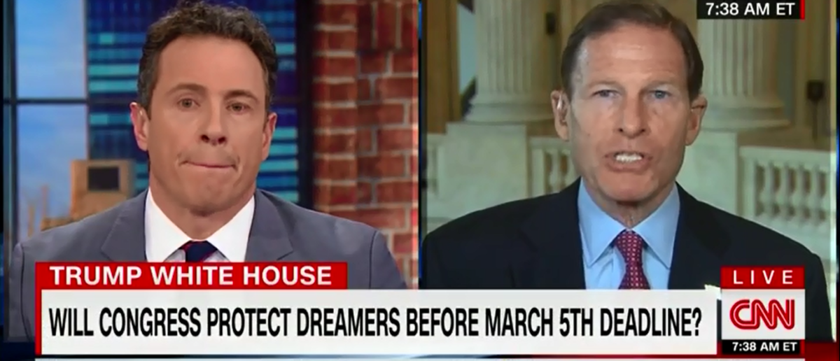 Dick Blumenthal Thinks Chain Migration is as American as apple pie - CNN New Day 2-13-18 (Screenshot/CNN)