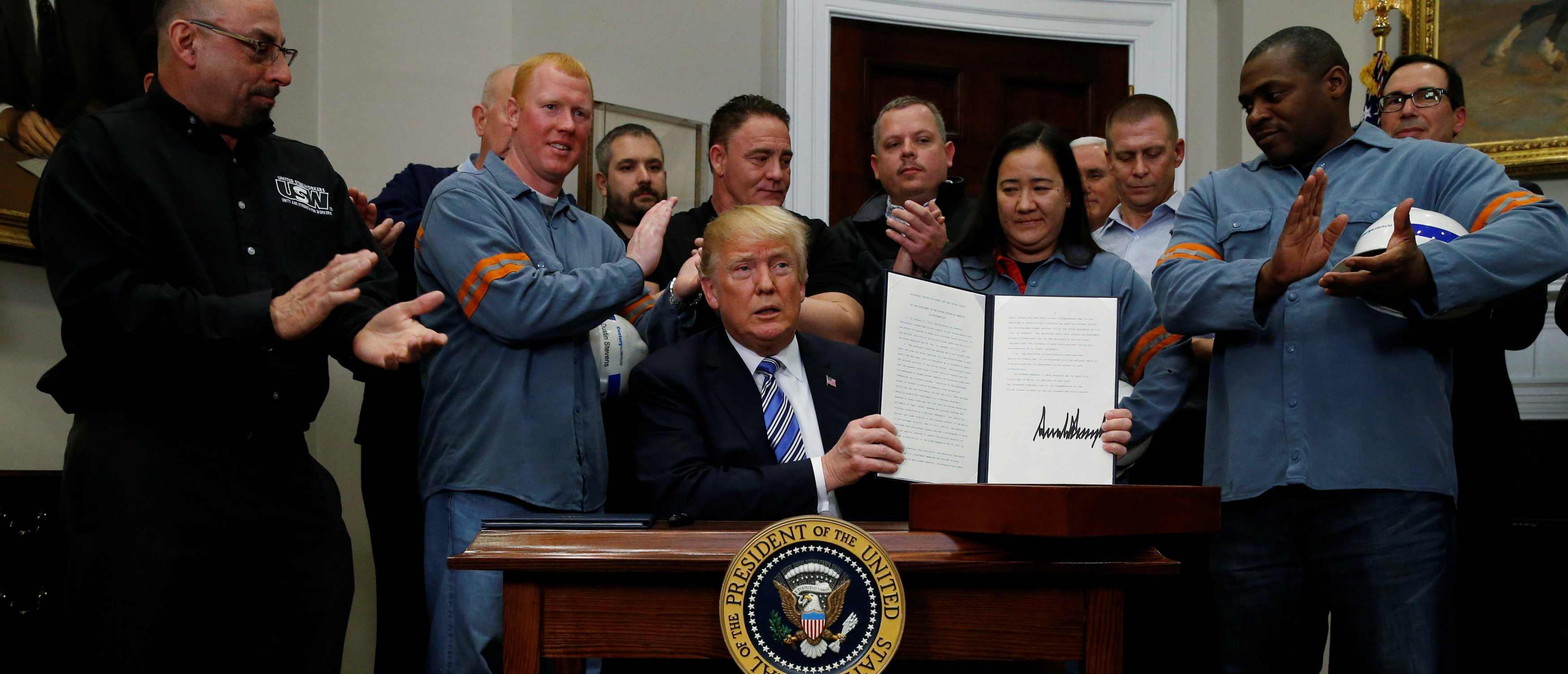 U.S. President Donald Trump is after signing a proclamation to establish tariffs on imports of steel and aluminum at the White House in Washington, U.S., March 8, 2018. REUTERS/Leah Millis