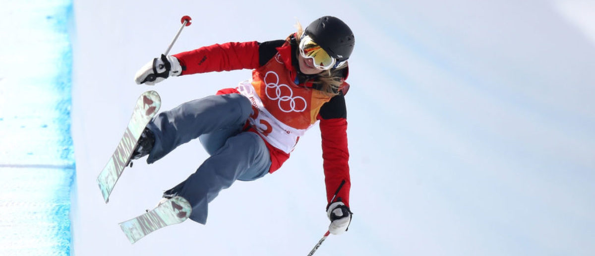 PYEONGCHANG-GUN, SOUTH KOREA - FEBRUARY 19: Elizabeth Marian Swaney of Hungary competes during the Freestyle Skiing Ladies' Ski Halfpipe Qualification on day 10 of the PyeongChang 2018 Winter Olympic Games at Phoenix Snow Park on February 19, 2018 in Pyeongchang-gun, South Korea. (Photo by Cameron Spencer/Getty Images)