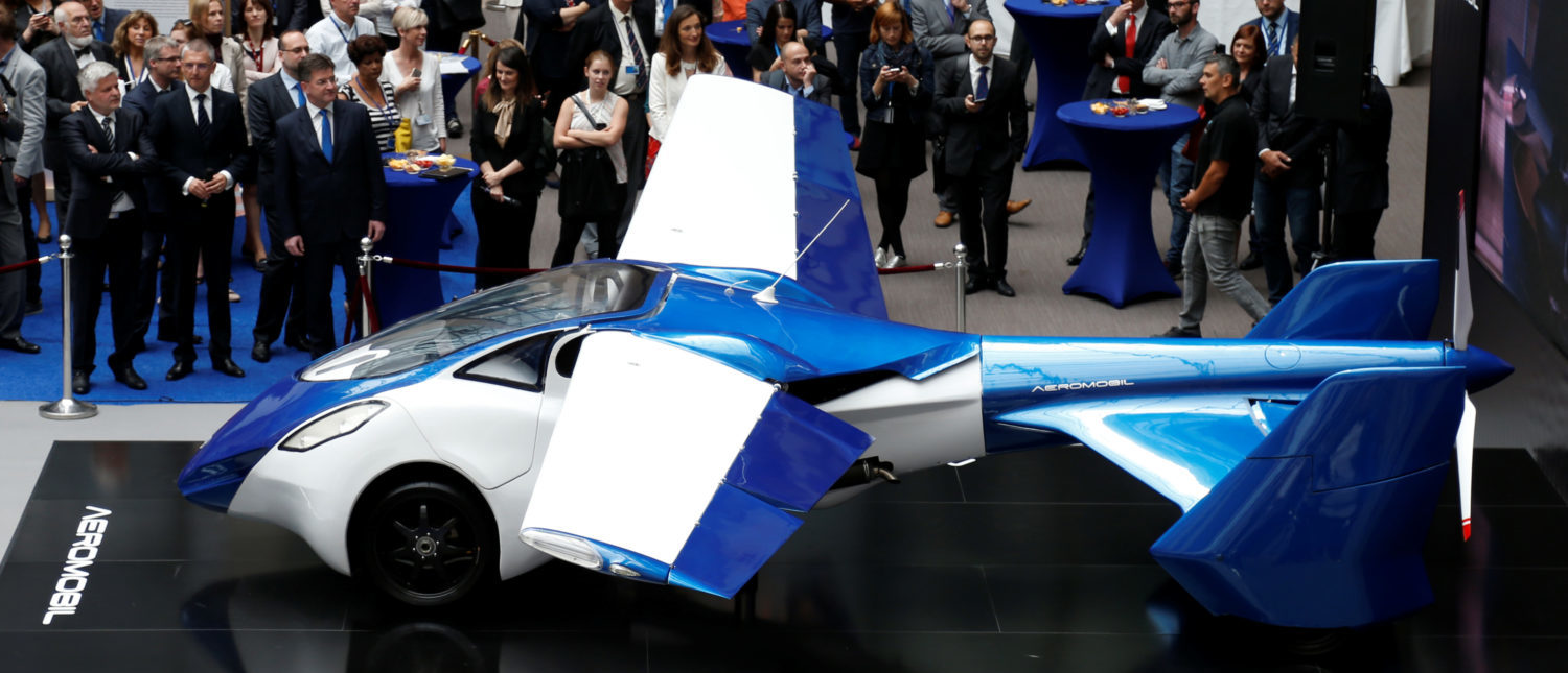 AeroMobil, a flying car prototype, is pictured during a ceremony marking the taking over of the rotating presidency of the European Council by Slovakia, in Brussels, Belgium, July 7, 2016. REUTERS/Francois Lenoir
