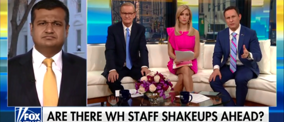 """Fox & Friends"" hosts grill Raj Shah over Rob Porter, 2-13-18.(Screenshot/Fox News)"