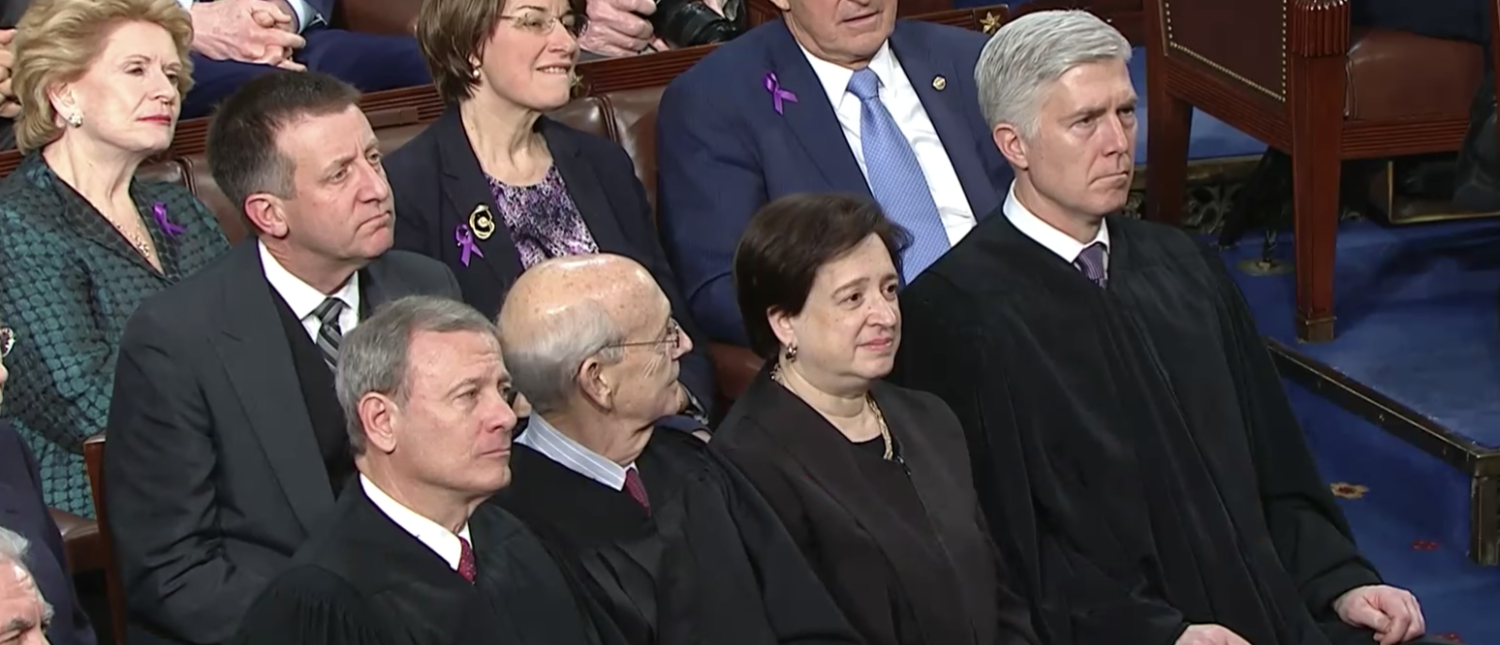 From L to R, Chief Justice John Roberts and Justice Stephen Breyer, Elena Kagan, and Neil Gorsuch at the 2018 State of the Union. (YouTube screenshot/CSPAN)