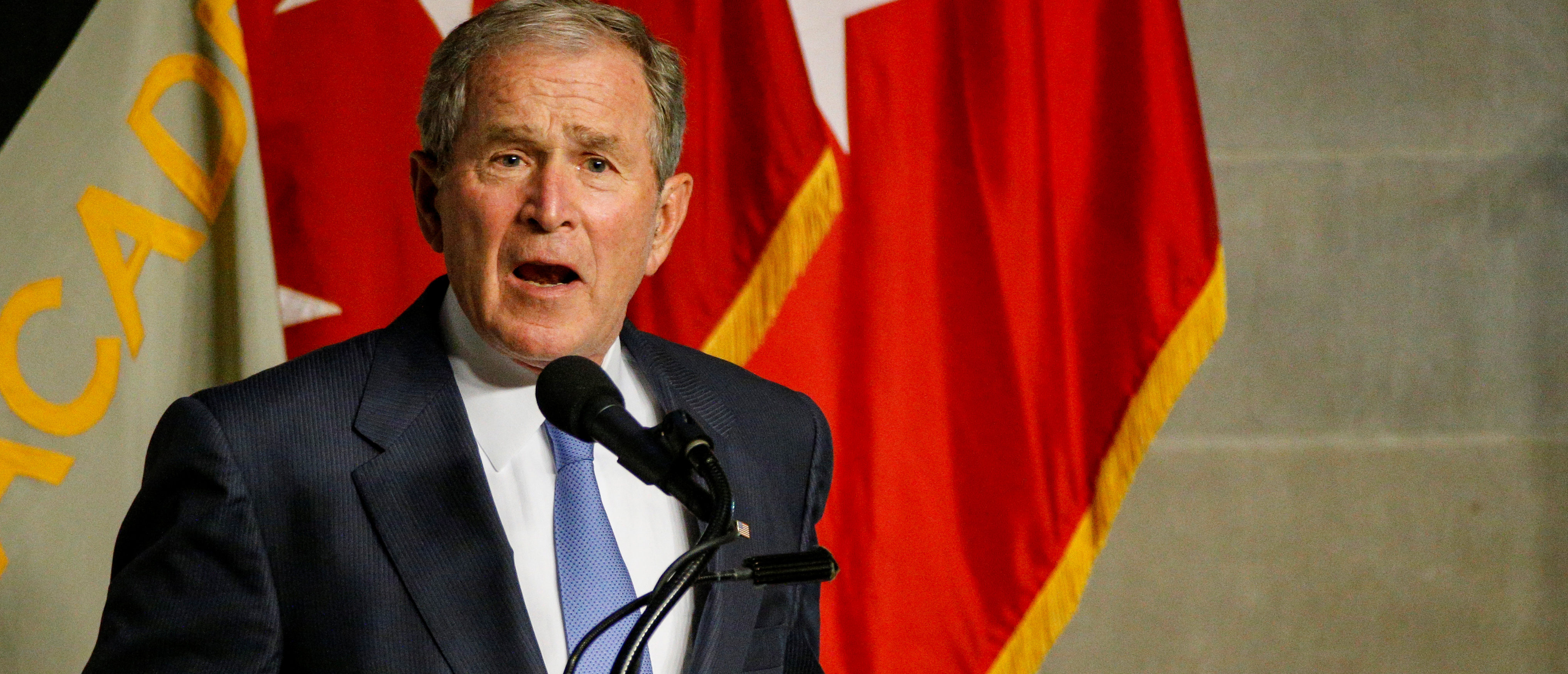 Former U.S. President George W. Bush speaks after being honored with the Sylvanus Thayer Award at the United States Military Academy in West Point, New York, October 19, 2017. REUTERS/Brendan McDermid