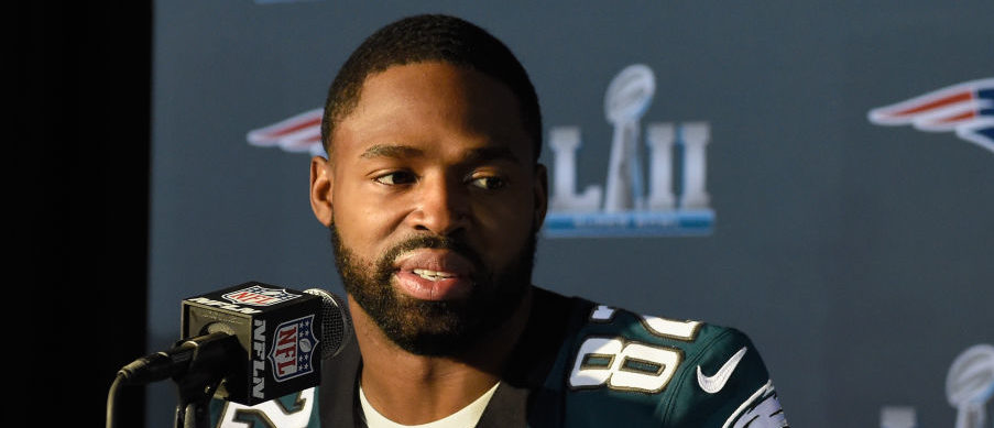 BLOOMINGTON, MN - JANUARY 31: Torrey Smith #82 of the Philadelphia Eagles speaks to the media during Super Bowl LII media availability on January 31, 2018 at Mall of America in Bloomington, Minnesota. The Philadelphia Eagles will face the New England Patriots in Super Bowl LII on February 4th. (Photo by Hannah Foslien/Getty Images)