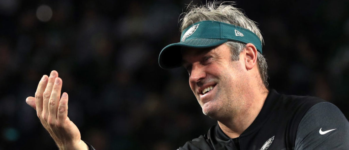 MINNEAPOLIS, MN - FEBRUARY 04: Head coach Doug Pederson of the Philadelphia Eagles celebrates after defeating the New England Patriots 41-33 in Super Bowl LII at U.S. Bank Stadium on February 4, 2018 in Minneapolis, Minnesota. (Photo by Mike Ehrmann/Getty Images)