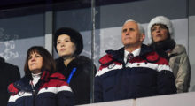 U.S. Vice President Mike Pence watches during the Opening Ceremony of the PyeongChang 2018 Winter Olympic Games at PyeongChang Olympic Stadium on February 9, 2018 in Pyeongchang-gun, South Korea. (Photo by Matthias Hangst/Getty Images)