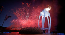 Fireworks erupt as the Olympic Cauldron is lit during the Opening Ceremony of the PyeongChang 2018 Winter Olympic Games at PyeongChang Olympic Stadium on February 9, 2018 in Pyeongchang-gun, South Korea.  (Photo by Pool - David J. Phillip/Getty Images)